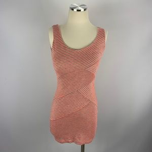 Soprano XS Dress Fitted Lined Gray Neon Orange